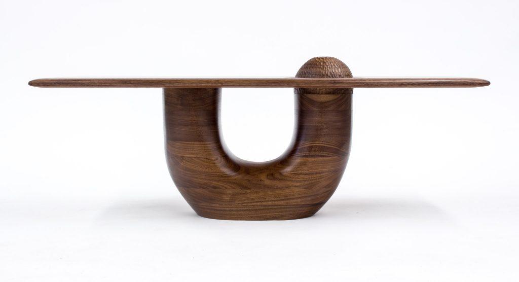walnut sculpture table