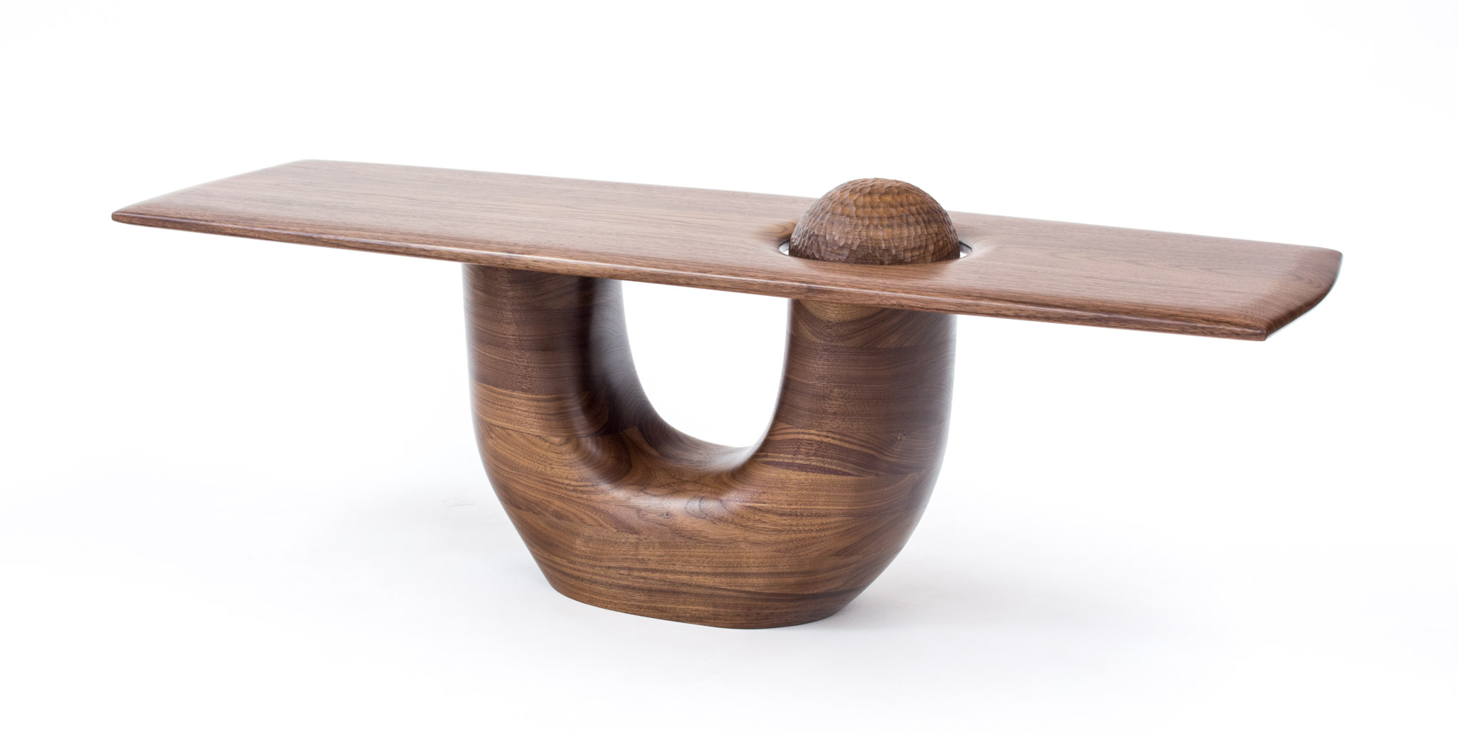 walnut sculpture table