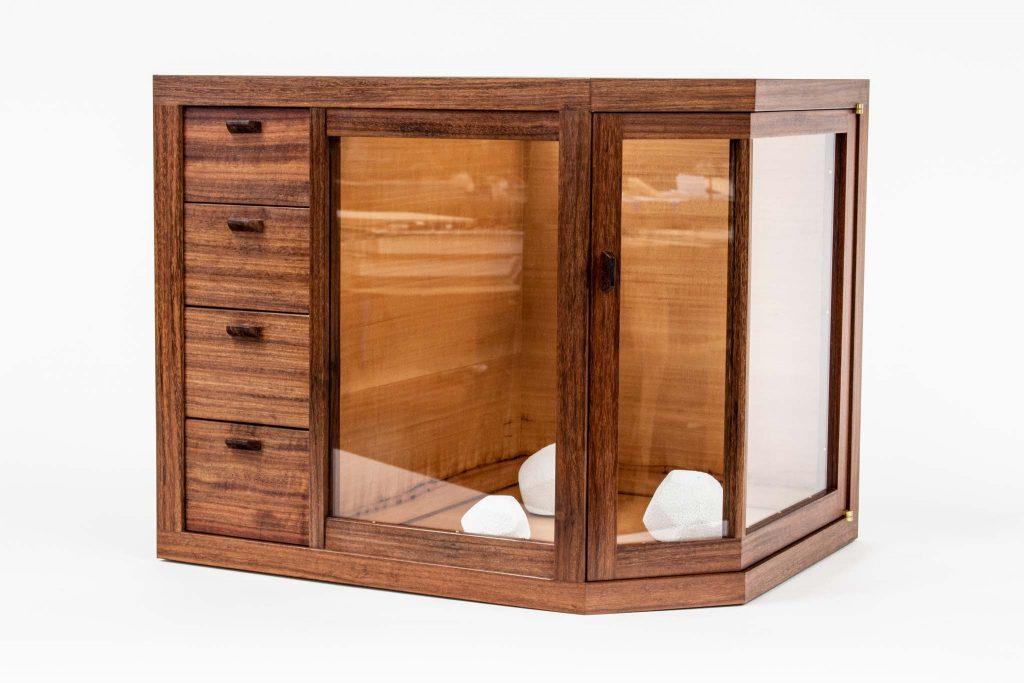 Irber granadillo glass cabinet