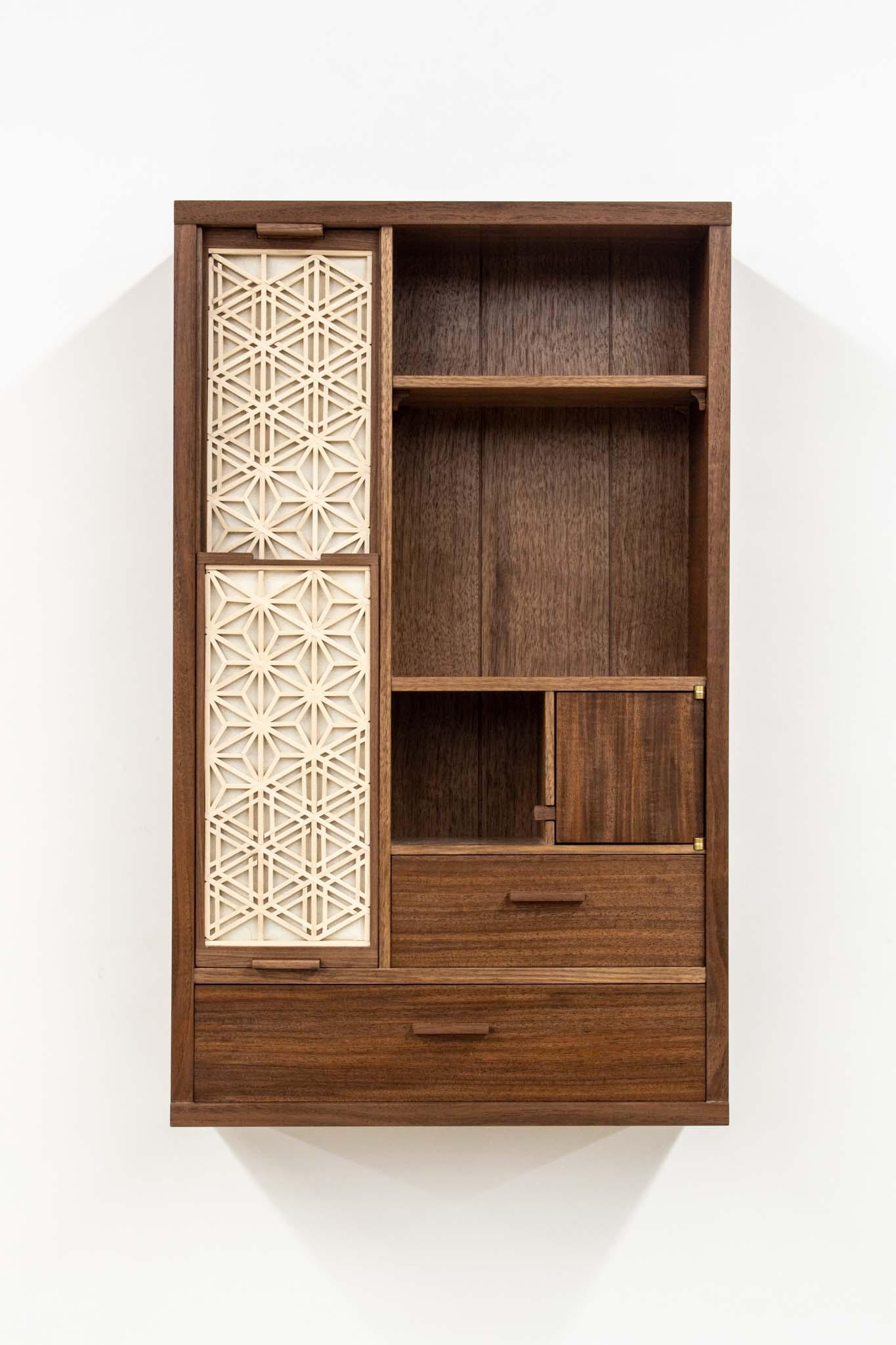 Tran walnut kumiko wall cabinet